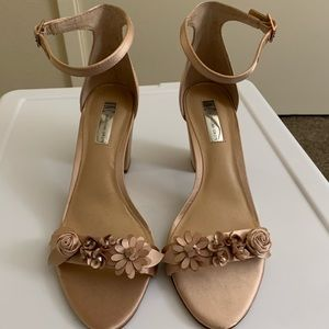 INC Satin Pink chunky heel with Flower Power
